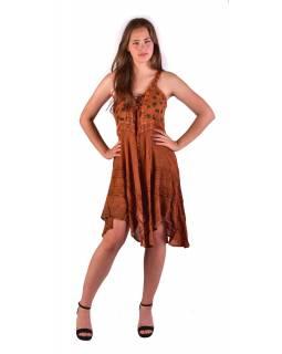 Krátké oranžové šaty na ramínka, výšivka, drobný potisk květin