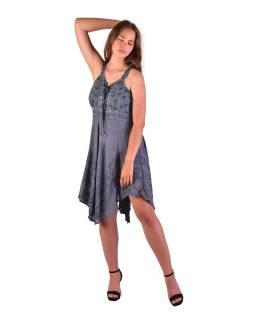 Krátké šedivé šaty na ramínka, výšivka, drobný potisk květin
