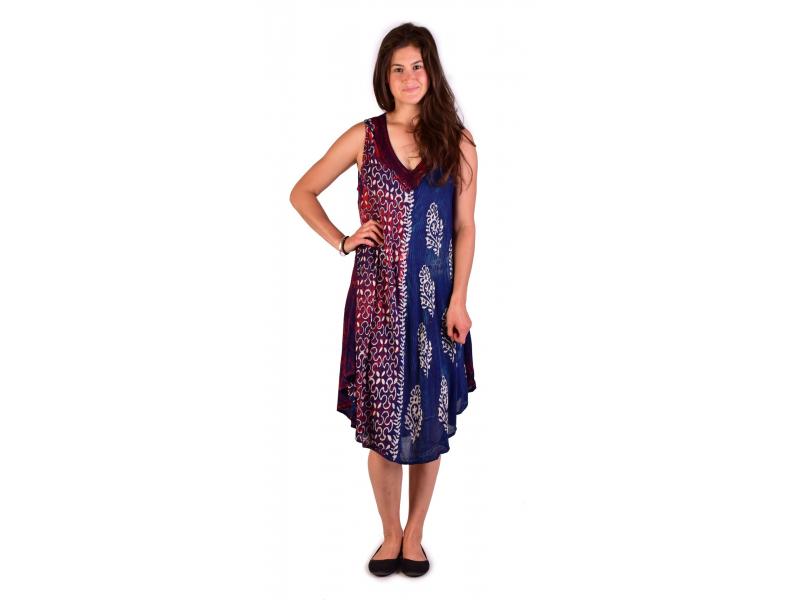 Krátké volné modré šaty bez rukávu, potisk, výšivka