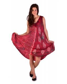 Krátké volné červené šaty bez rukávu, potisk ornamenty, výšivka