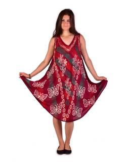 Krátké volné vínové šaty bez rukávu, potisk motýlů a květin, výšivka
