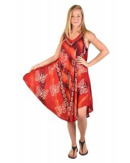 Krátké volné červené šaty bez rukávu, potisk motýlů a květin, výšivka