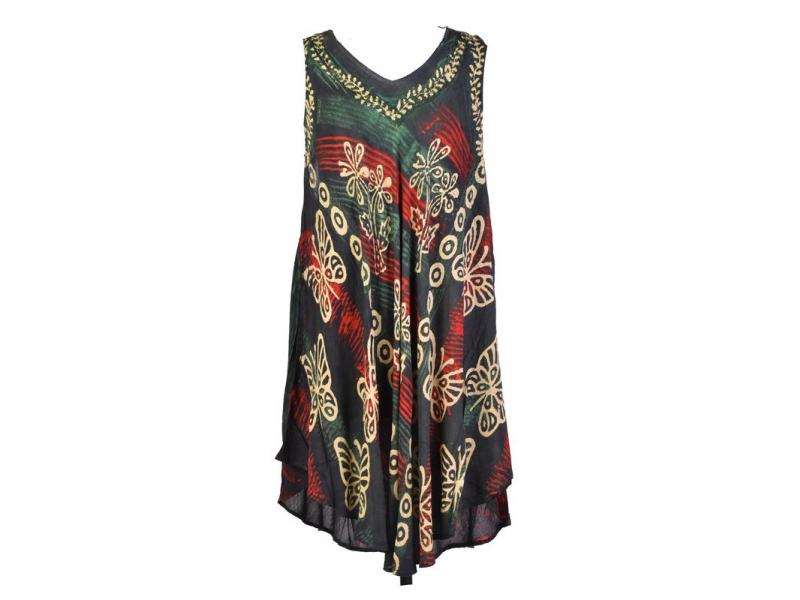 Krátké zelené šaty bez rukávu, potisk, výšivka