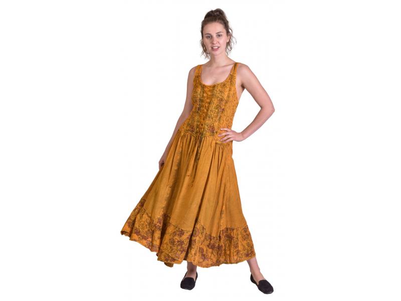 Dlouhé zlatavě žluté šaty na ramínka, výšivka a šněrování