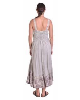 Dlouhé šedé šaty na ramínka, výšivka a potisk barevných květů