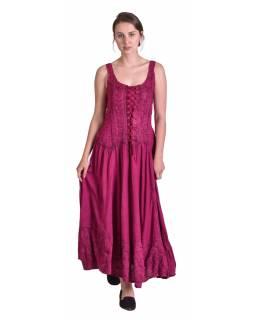 Dlouhé tmavě růžové šaty na ramínka, výšivka a šněrování