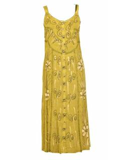Dlouhé žluté šaty na ramínka, výšivka, celopropínací na knoflíky