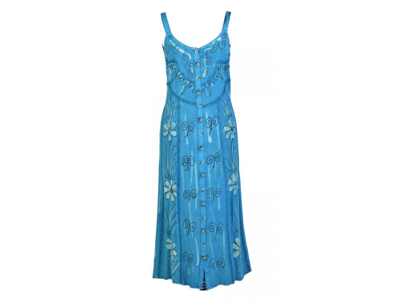 Dlouhé tyrkysové šaty na ramínka, výšivka, celopropínací na knoflíky