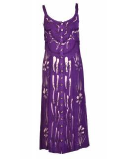 Dlouhé fialové šaty na ramínka, výšivka, celopropínací na knoflíky