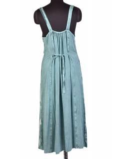 Dlouhé mentolové šaty na ramínka, výšivka, celopropínací na knoflíky