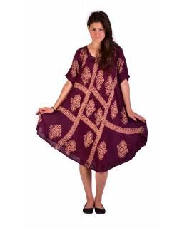 Krátké švestkově fialové šaty s rukávkem, výšivka, potisk