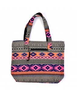 Velká taška, barevná Aztec design, 2 malé vnitřní kapsy, zip, 51x39cm, 29cm ucho