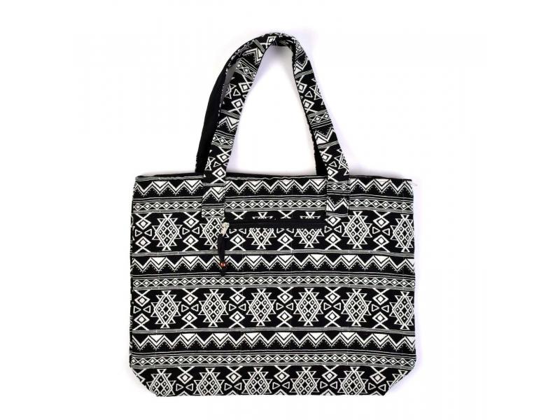 Velká taška, černobílá Aztec design, 2 malé vnitřní kapsy, zip, 51x39cm + 29cm