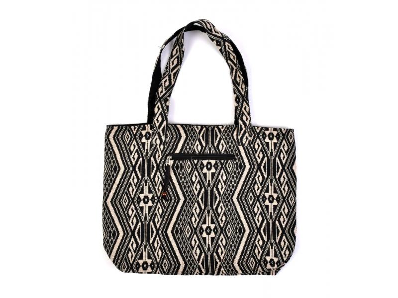 Velká taška, černo-bílá Aztec design, 2 malé vnitřní kapsy, zip, 51x39cm + 29cm