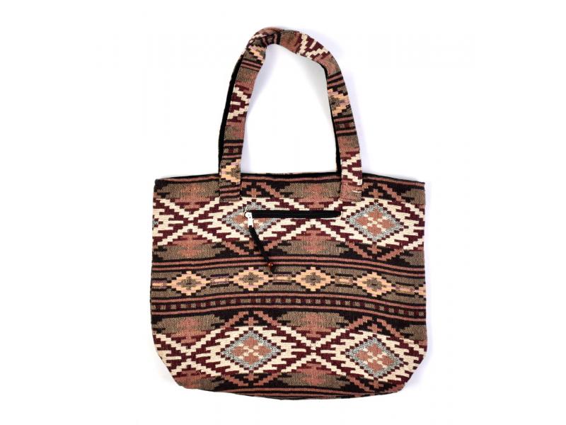 Velká taška, hnědo-vínová Aztec design, 2 malé vnitřní kapsy, zip, 51x39cm +29cm