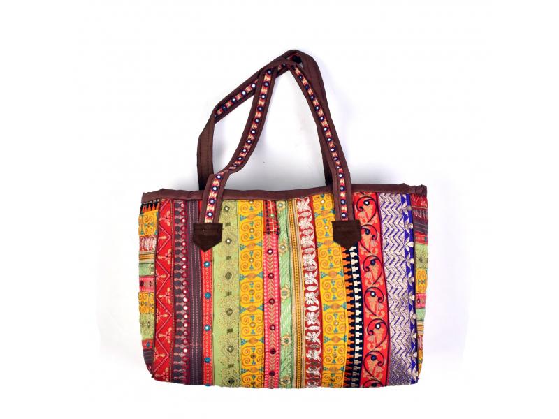 Unikátní taška z Rajastánu, ručně vyšívaná a zdobená, 51x32cm+26cm ucha