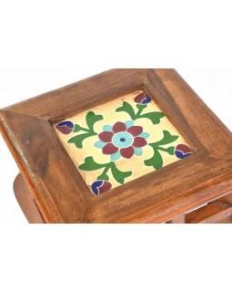 Stolička z antik teakového dřeva s keramickou dlaždicí, 26x26x42cm