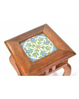 Stolička z antik teakového dřeva s keramickou dlaždicí, 26x26x41cm