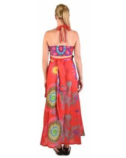 """Atypické zavinovací šaty """"Mandala design"""" na ramínka, červené"""