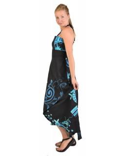 "Atypické zavinovací šaty ""Flower design"" na ramínka, černé"