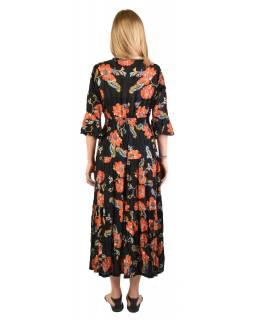 Dlouhé šaty s 3/4 rukávem s drobným potiskem, černé