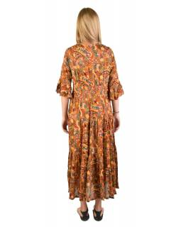 Dlouhé šaty s 3/4 rukávem s drobným potiskem, hnědé
