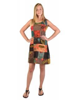 Krátké šaty bez rukávu, kapsy, multibarevný patchwork, stonewash, zip na boku
