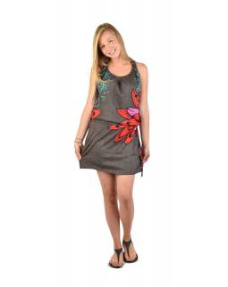 Krátké šedivé šaty na ramínka s potiskem květiny, stahovací šňůrka