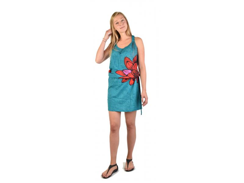 Krátké tyrkysové šaty na ramínka s potiskem květiny, stahovací šňůrka