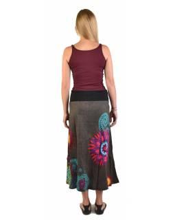 Dlouhá šedá sukně s Mandala potiskem, elastický pas, šňůrka