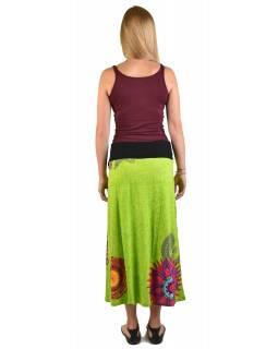 Dlouhá limetkově zelená sukně s Mandala potiskem, elastický pas, šňůrka