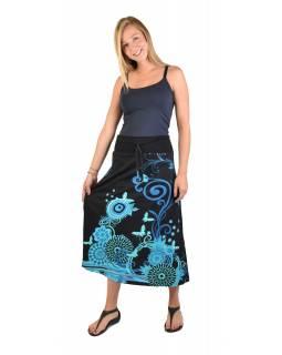 Dlouhá černá sukně s Flower potiskem, elastický pas, šňůrka