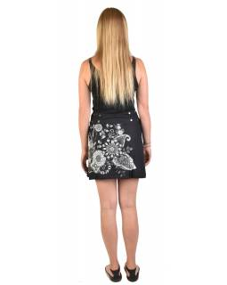 Krátká černo-šedivá oboustranná sukně zapínaná na cvočky, potisk