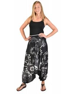 """Černé turecké kalhoty-overal-halena 3v1 """"Flower Design"""", žabičkování"""