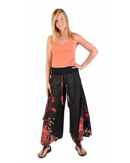 """Černé zvonové kalhoty s vysokým pasem, """"Flower design"""""""