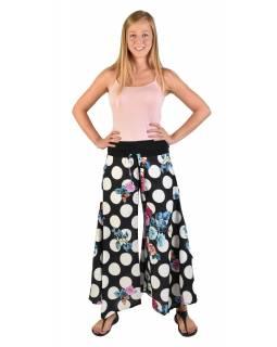 """Černé zvonové kalhoty s vysokým pasem, """"Dots & Flower design"""""""