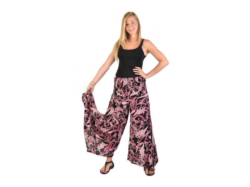 """Černé zvonové kalhoty s vysokým pasem, """"Flower design"""", žabičkování"""