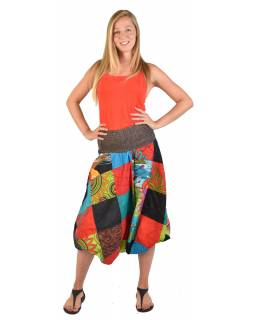 Multibarevné patchworkové turecké kalhoty, žabičkování