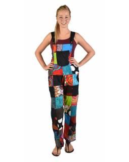 Kalhoty s laclem, kapsy, multibarevný patchwork