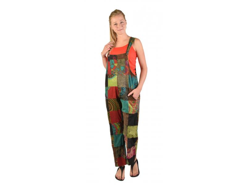 Kalhoty s laclem, kapsy, multibarevný patchwork, stonewash