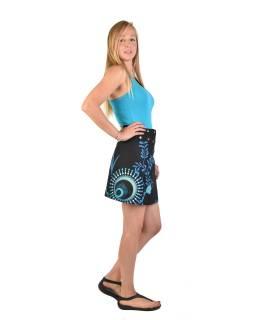 Krátká černo-tyrkysová oboustranná sukně zapínaná na cvočky, potisk