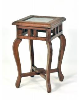 Stolička z teakového dřeva zdobená tepáním se sklem, 25x25x40cm