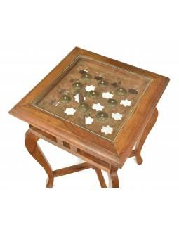 Stolička z teakového dřeva zdobená tepáním se sklem, 31x31x47cm