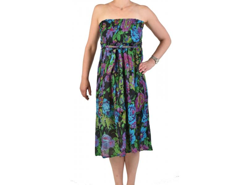 Krátké šaty s potiskem, patchwork design