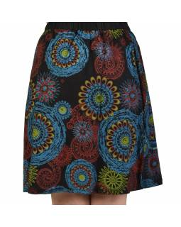 Krátká černá sukně s potiskem mandal, elastický pas