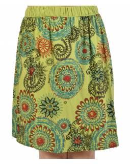 Krátká zelená sukně s potiskem mandal, elastický pas