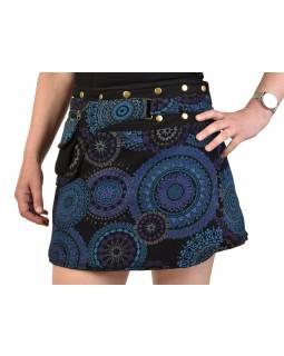 Krátká čená sukně zapínaná na svočky, Mandala design, potisk, kapsička