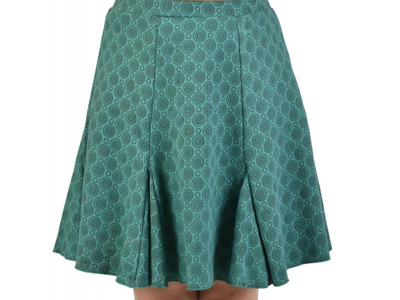Krátká sukně, mentolová, černá kolečka, elastický pas