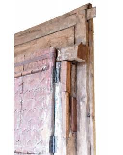 Antik dveře s rámem z Gujaratu, teakové dřevo, malované, 140x20x236cm
