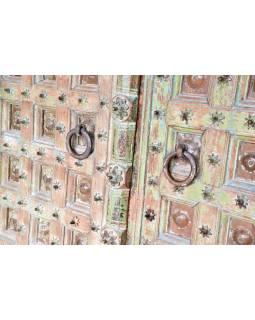 Antik dveře s rámem z Gujaratu, teakové dřevo, tyrkysová patina, 140x20x236cm
